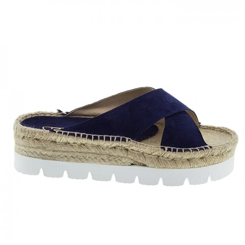 NAVY SUEDE FLATFORMS PLM BY PERLAMODA
